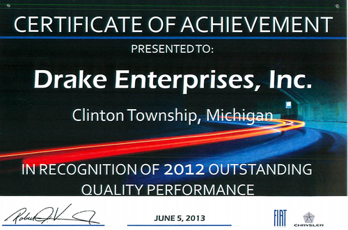 Drake Enterprises receives another Chrysler Outstanding Quality Performance Award