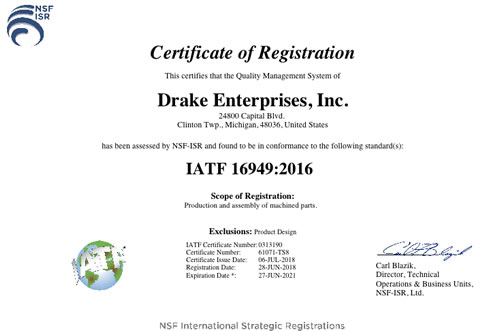 Drake Achieves IATF 16949 Automotive Quality Certification