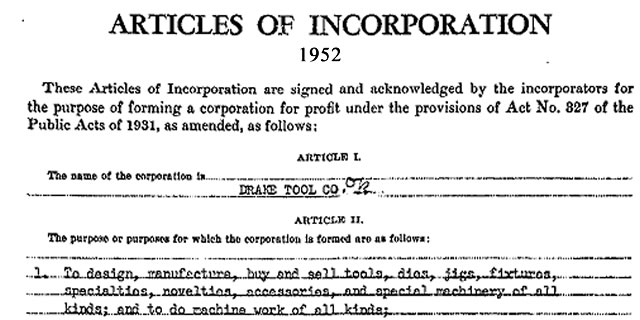 Drake Articles of Incorporation